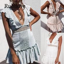Rubilove 2019 summer lace crochet dress women v neck hollow out boho beach ruffle female party club mini