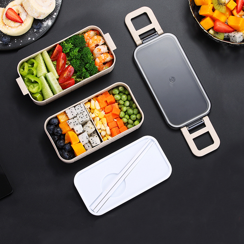 Heated Food Container For Food Bento Box Lunch Box Double-layer Compartments Lunchbox Microwave Container Box Japanese Thermal 2