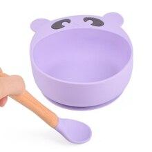 3 + шт. + Ребенок + кормление + еда + миска + деревянная + ручка + ложка + вилка + набор + силикон + присоска + тарелка