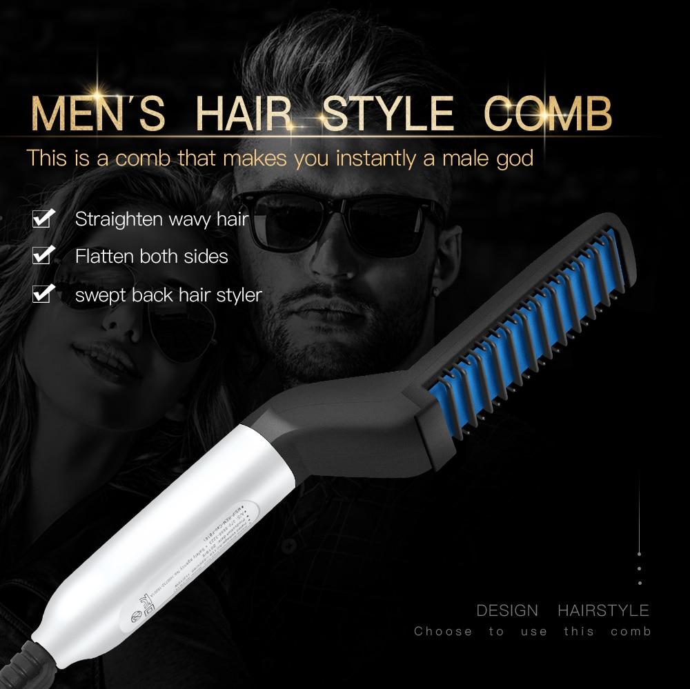 Multifunctional Hair Comb Brush Beard Straightener Hair Straighten Electric Beard Straightening Comb Quick Hair Styler For Men 1