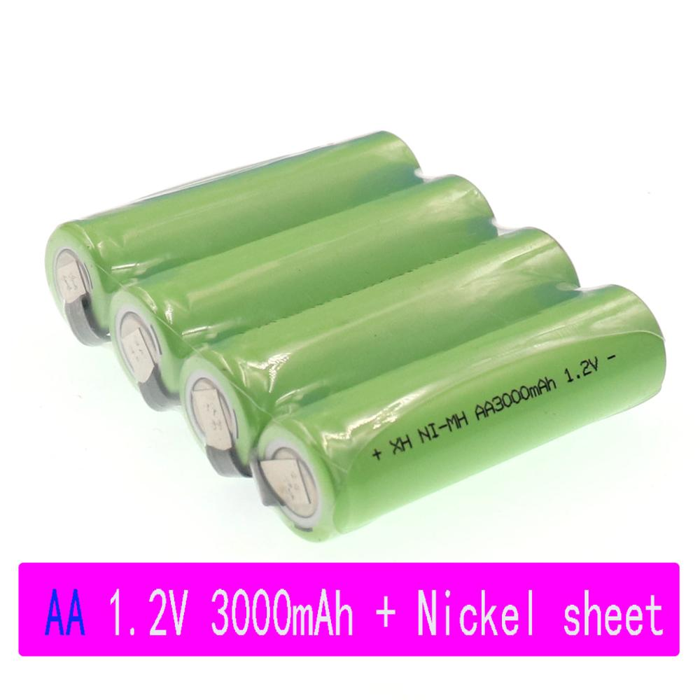 4-20 AA Rechargeable Battery <font><b>1.2V</b></font> 3000mAh NiMH Battery Blue Case with Solder Pins for DIY Electric Shaver Toothbrush Toy image