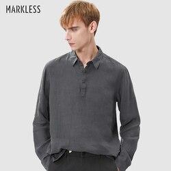 Markless мужские свободные льняные воздухопроницаемые рубашки с лацканами с длинными рукавами модные однотонные футболки удобный пуловер ...