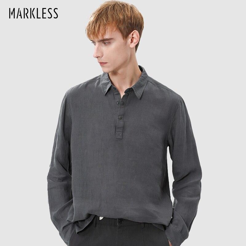 Markless Mens Loose Linen Breathable Shirts Lapel Long Sleeve Fashion Solid Tshirts Comfortable Pullover CSA9552M1