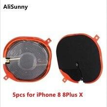 AliSunny 5pcs 무선 충전 칩 NFC 코일 아이폰 8 플러스 X 8 P 충전기 패널 스티커 플렉스 케이블 WPC 패드 부품