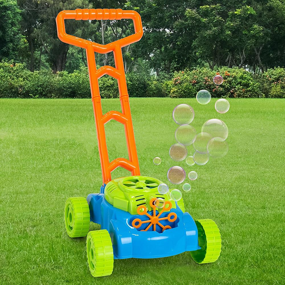 Creative Pushing Car Automatic Soap Bubble Machine Maker Blower Baby Kids Toy Gift With 8 Bubble Blowing Wands ,Long Handle