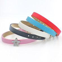 1pc 210mm*8mm Scrub PU Leather Wristband can put any 8mm letters charms on fit slide charms as gift(China)
