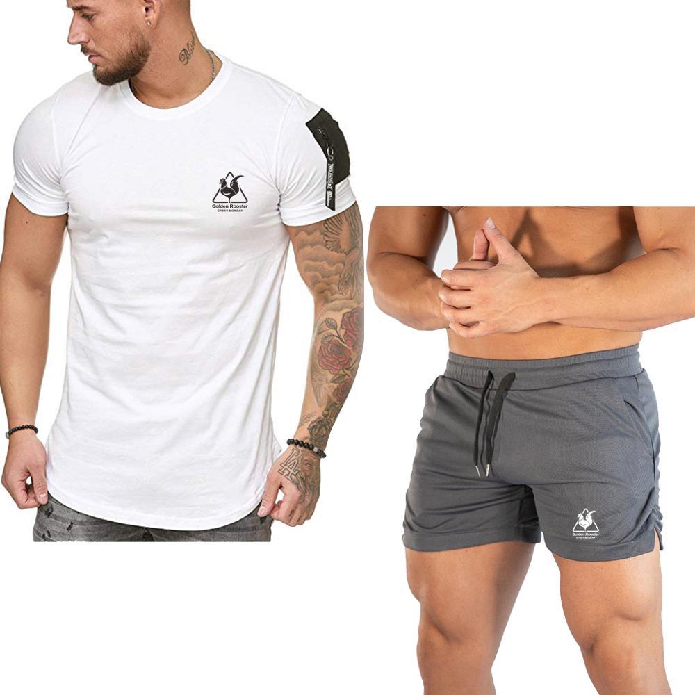 2020 Men's Summer Sets Shorts + Short Sleeve T Shirt Men Beach Shorts Tee Male Tracksuits Elastic Waist Shorts Homme Solid Color