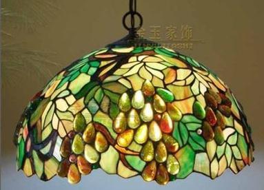 Işıklar ve Aydınlatma'ten Kolye ışıkları'de Sıcak satış Tiffany tarzı çok renkli cam moda üzüm serisi kolye lamba D40cm E27 110 240v zincir kolye ışıkları ev için title=