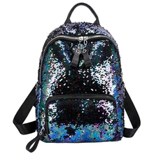 New Sequins Bling Teen Small Backpack Girl Travel Shoulder Bag Female Sequins Contrast Color School Backpack For Student Bag kisumater matt color backpacks women bag geometry sequins folding luminous baobao backpack student s school bag free shipping