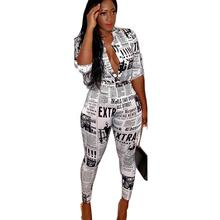 Adogirl news paper printing two pieces suits dual function long sleeve shirt single breasted skinny street wears print set