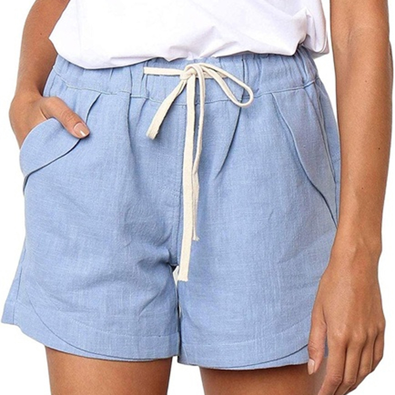 2020 Summer Style Shorts Women Candy Color Elastic With Belt Short Women Home Casual Cotton Shorts