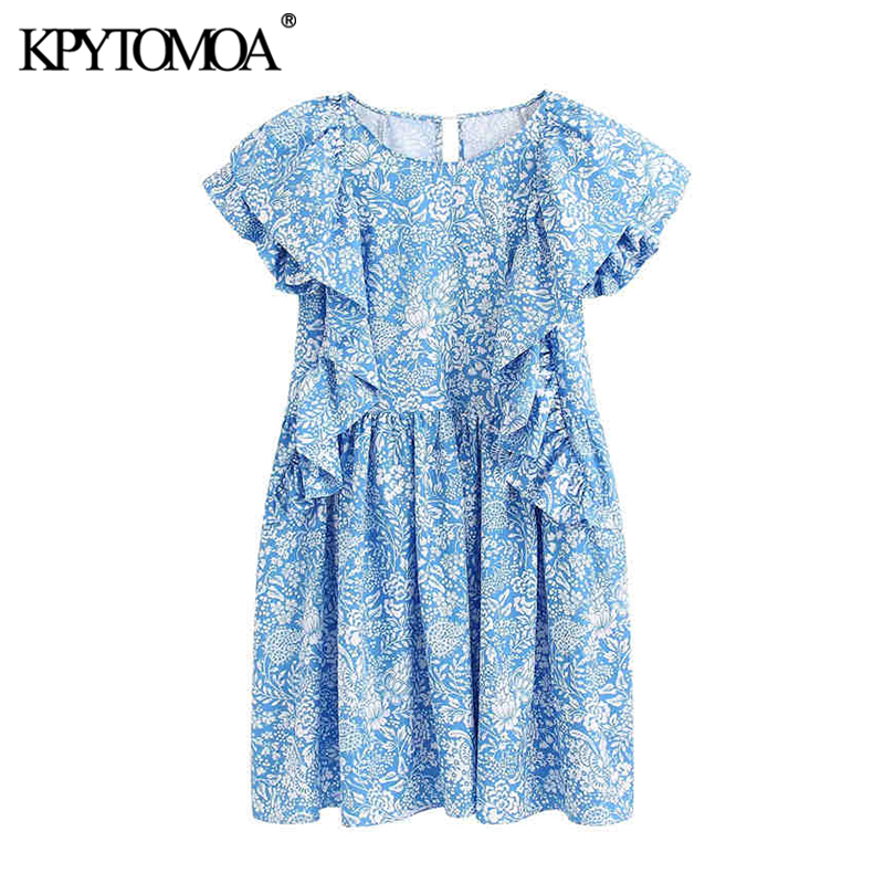 KPYTOMOA Women 2020 Vintage Sweet Floral Print Ruffled Mini Dress Chic Fashion O Neck Sleeveless Female Dresses Vestidos Mujer