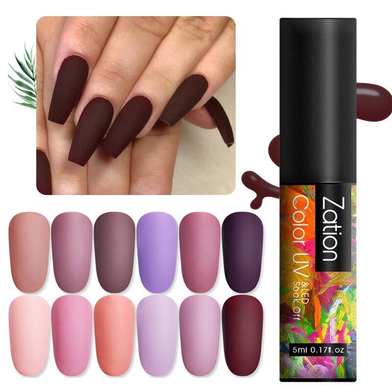 Zation Soak Off UV Gel Nail Polish Semi Permanent Gellak Lacquer UV Nail Gel Varnish Matte Top Coat Needed Long Lasting Nail Art