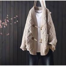 Outono e inverno nova camisola cardigan feminino solto estilo coreano K391 chifre fivela all-jogo grosso casaco feminino
