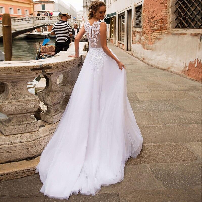 SoDigne White Boho Wedding Dresses 2020 Elegant Lace Appliques Flower Tulle Beach Bridal Dress Plus Size Wedding Gown