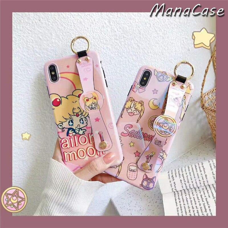 Mignon Japon Sailor Moon Luna Chat Anime Bracelet Téléphone Étui Pour iPhone 11 Pro Max X XS MAX XR 6 6s 7 8 Plus pour TPU COUVERTURE Arrière