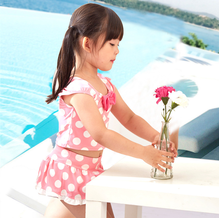 Korean-style KID'S Swimwear Big Boy Students Pink Polkadot Bow Skirt Cute GIRL'S Hot Springs Split Type Swimwear