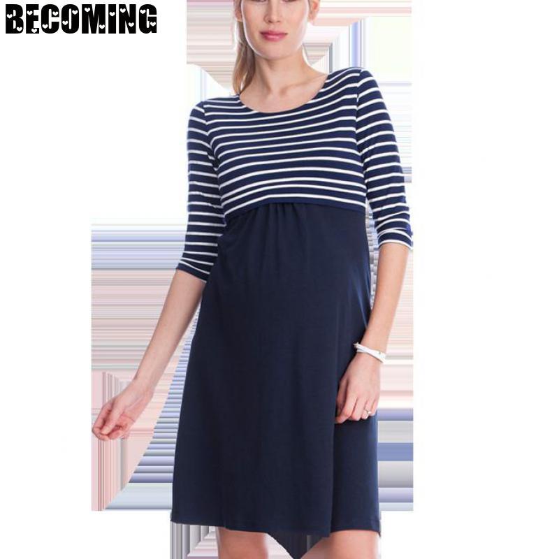 Maternity Dress Plus Size Stripe Color Pregnant Dress Summer Nurse Clothes For Pregnant Women Pregnancy Breastfeeding Dress BC22