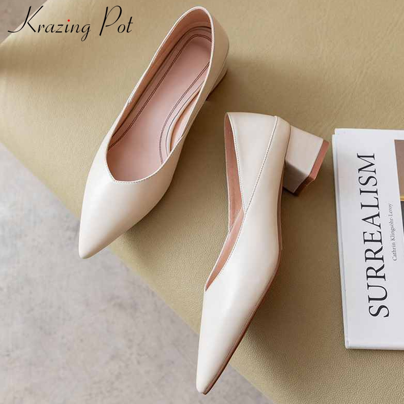 Krazing Pot Cozy Full Grain Leather Classic Basic Office Lady Simple Style Pointed Toe Med Heels Slip On Solid Women Pumps L36