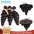 Mechones de pelo Lekker sueltos con mechones frontales de Malasia con cierre 13x4 extensiones de cabello frontales de encaje suizo al por mayor