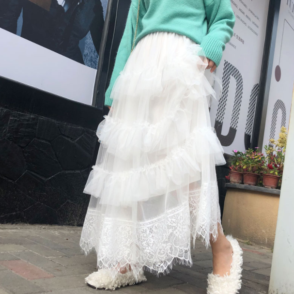 Faldas de tul dulce faldas largas de malla de color sólido mujer 2020 capas de volantes pastel falda de hadas para mujer AQ314