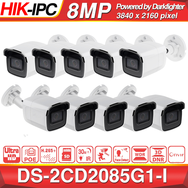 Pre sale Hikvision Darkfighter Original DS 2CD2085G1 I 8MP 20fps Bullet Network CCTV IP Camera H.265+ POE SD Card Slot 10pcs/lot