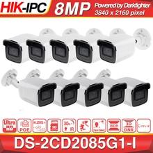 Ön satış Hikvision Darkfighter orijinal DS 2CD2085G1 I 8MP 20fps Bullet ağ CCTV IP kamera H.265 + POE SD kart yuvası 10 adet/grup