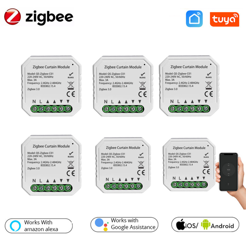 Tuya ZigBee 3.0 Tuya Smart Life Curtain Switch Module for Roller Shutter Blind Motor with Alexa Google Home App Control