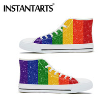 INSTANTARTS Rainbow Flag Print Classic High Top Canvas Pride Shoes Ladies Lace Up Vulcanize Shoes Walking Shoes Calzado Mujer