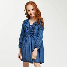 CupofSweet Ruffled Front Cropped Sleeves Denim Dress Shirt Girls Kids Clothing 2019 Fashion Long Casual Kid Girl Dresses