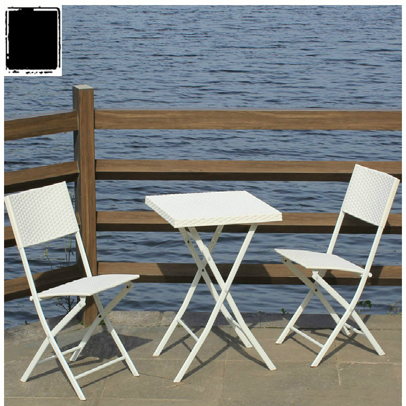 Outdoor Table and Chairs Imitation Vine Leisure Folding Outside Table and Chair Combination Set Outdoor Garden Balcony Tables
