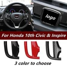 Carbon-Fiber Sticker Accessories Emblem Steering-Wheel 10th Civic Honda Grille Front