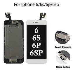 Komplet LCD dla iPhone 5/6/6 s/6 P/6SP dotykowy wyświetlacz LCD zamiana digitizera ekranu pełny zestaw Ecran z przyciskiem Home + kamera w Ekrany LCD do tel. komórkowych od Telefony komórkowe i telekomunikacja na