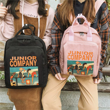 Schoolbag Female Harajuku Ulzzang High School Student Ins Canvas Cartoon Printed Backpack Large
