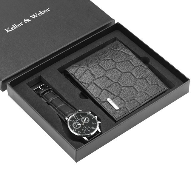 Unique Men Quartz Watch Genuine Leather Wallet Gift Set Practical Pin Buckle Watches Business Style Male Clock Top Gifts 2019