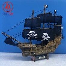 LUCKK 33CM Handmade Caribbean Wooden Sailing Boats Home Decor Retro Black Pirate Ship Crafts Wood Furnishing Kid Gift Souvenirs