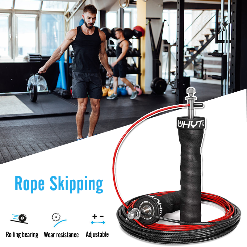 Men Adjustable Speed Skipping Rope Strength Workout Jump Rope Cable Nonslip Handle Gym Jumping Fitness Training Crossfit