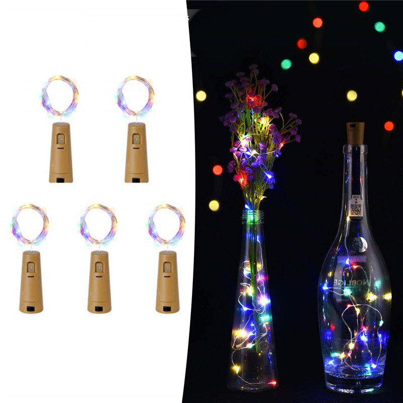 5 Pack Wine Bottle Lights Battery Operated LED Cork Shape Copper Wire Fairy Mini String Lights For Xmas Decors Exclude Battery
