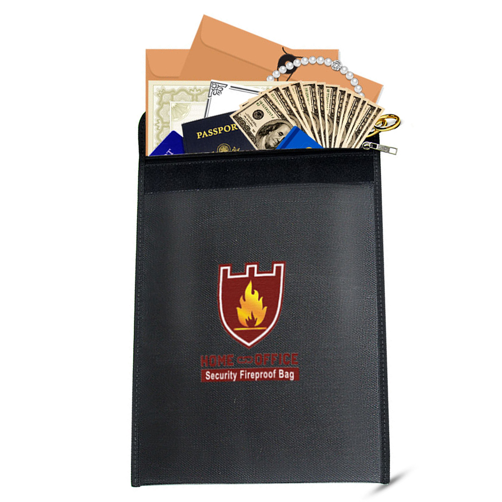 Portable Fireproof Waterproof  Document Bag  Money Pouch  ID Card  Passport Bills Valuables Organizer Holder