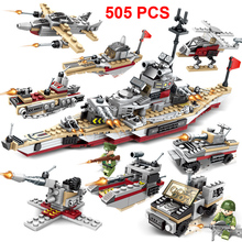 505PCS Aircraft Battle Building Blocks 8 in 1 Aircrafted Carrier Models Military Ship Bricks Toy Compatible  child gift