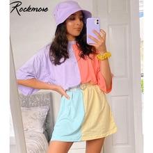 Rockmore Plus Size Patchwork Long Tshirts Summer O-Neck Short Sleeve T-shirt Wom
