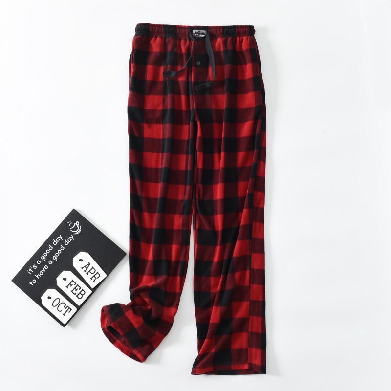 Men's Pants Trousers Fleece Plaid
