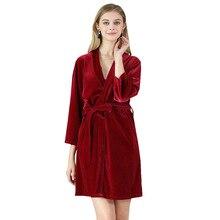 Women Sleepwear Nightwear Kimono Robe Solid Winter Autumn Casual Cotton Bathrobe Belt Elegant Bathroom Spa