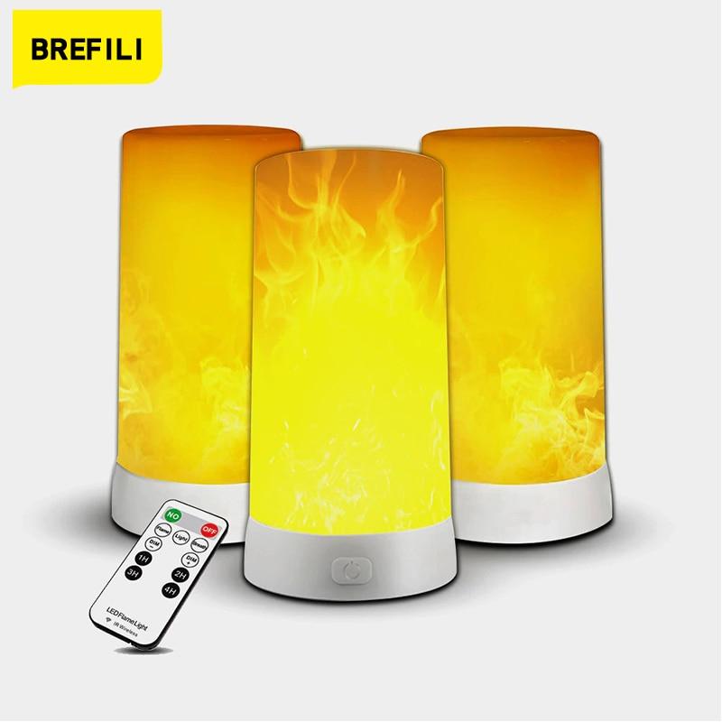 USB Перезаряжаемые Светодиодный лампа имитация эффект пламени светильник реалистичный огонь атмосфера светильник внутренней отделки 4 свет...