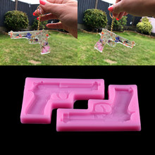1 adet tabanca şekli epoksi reçine silikon kalıp 3D oyuncak silah çikolatalı pasta bisküvi kalıpları epoksi reçine kalıpları DIY takı yapımı için