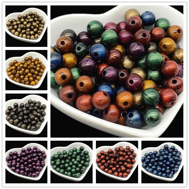 50pcs 8mm Dark Colors Acrylic Beads Spacer Beads For Jewelry Making Handmade DIY