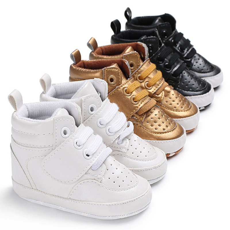 Kids Baby Boy Girl Soft Sole Crib Shoes Warm Boots Anti-slip Sneaker PU Breathable Solid First Walkers