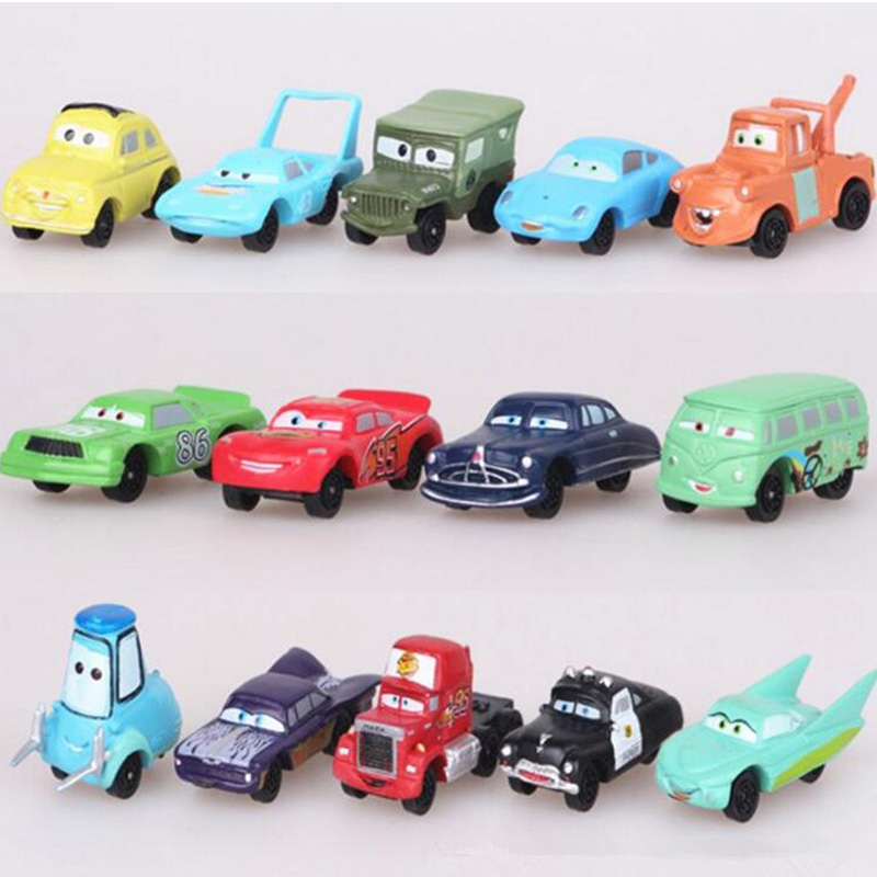 14pcs/lot Disney Pixar Cars 3 Toy Mini Lightning McQueen Mater Jackson Storm Plastic Action Figure Car Model Toys For Boys Gift