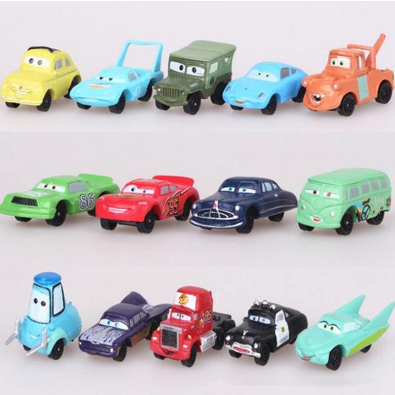 14pcs/lot Disney Pixar Cars 3 Toy Mini Lightning McQueen Mater Jackson Storm Plastic Action Figure Car Model Toys For Boys Gift