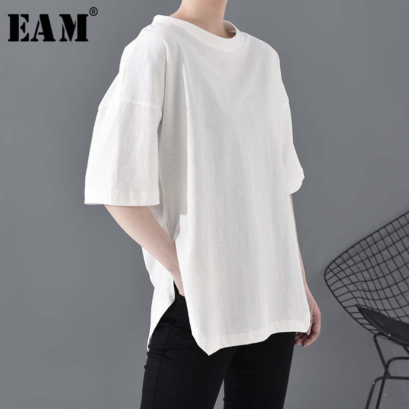 [EAM] Women White Black Brief Side Vent Big Size T-shirt New Round Neck Half Sleeve  Fashion Tide  Spring Summer 2020 A628